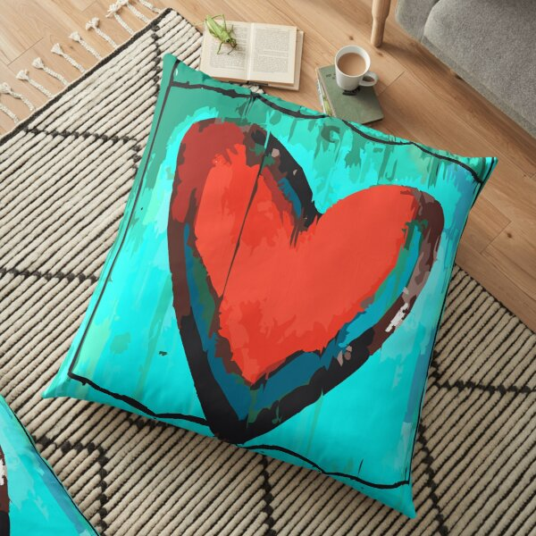 Artful Heart Turquoise & Red Floor Pillow