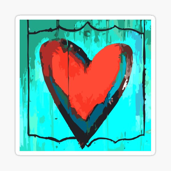 Artful Heart Turquoise & Red Sticker