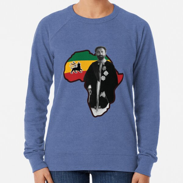Haile Selassie I with African Map  Lightweight Sweatshirt