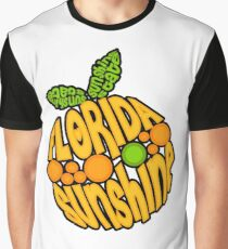 Florida Orange - Sunshine State Emblem Lettering in Shape of Orange Graphic T-Shirt
