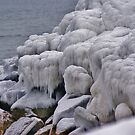 Iced Rocks an der Uferlinie Alter Obstgartenstrand Maine von jeanlphotos