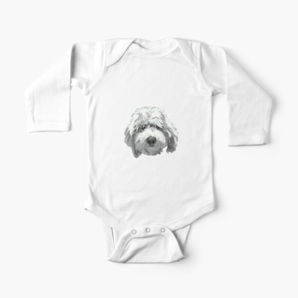 Lucky Labradoodle Face ~ Black and white Long Sleeve Baby One-Piece