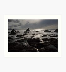 Sunset Dark Beach Stones Nature Fine Art Photography 0016 Art Print