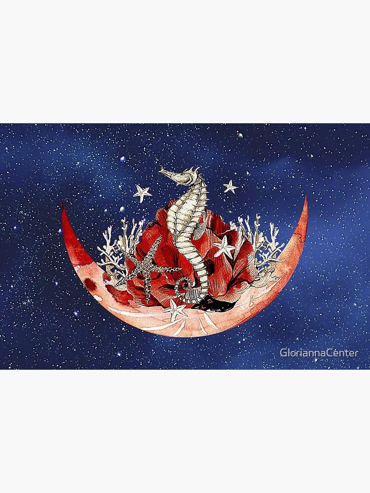 Artsy combo of stary sky, moon and sea horse design by GloriannaCenter