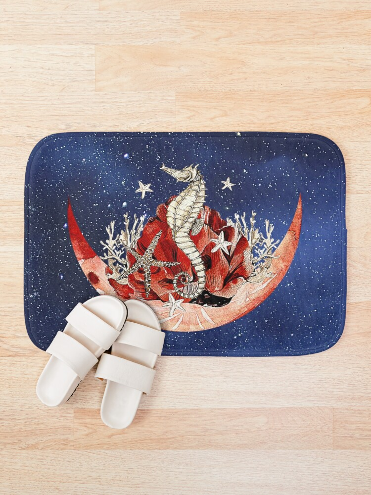 Alternate view of Artsy combo of stary sky, moon and sea horse design Bath Mat