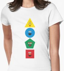 Sesame Street Primary Colors Basic Shapes Womens Fitted T-Shirt