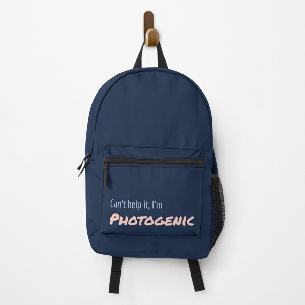 Can't Help It I'm Photogenic pastel blue and rose design Backpack