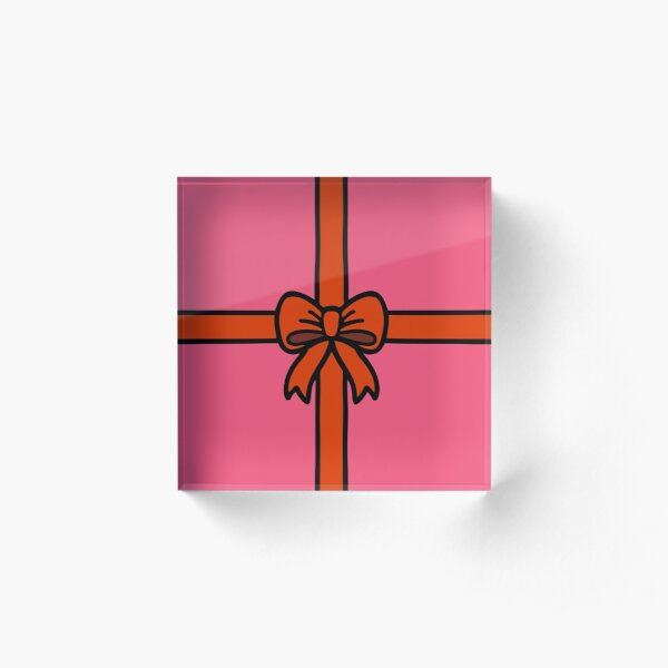Festive Red Gift Bow on Pink Acrylic Block