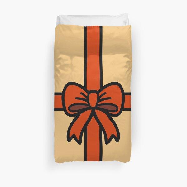 Festive Red Gift Bow on Gold Duvet Cover