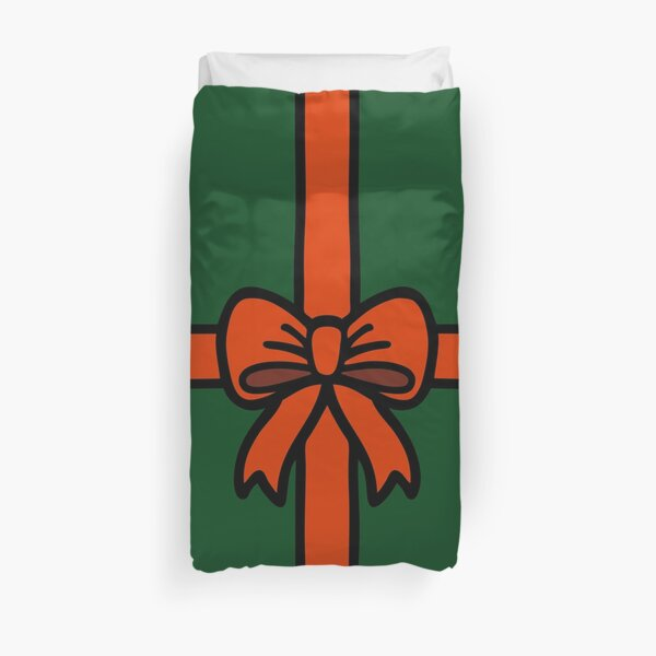 Festive Red Gift Bow on Green Duvet Cover