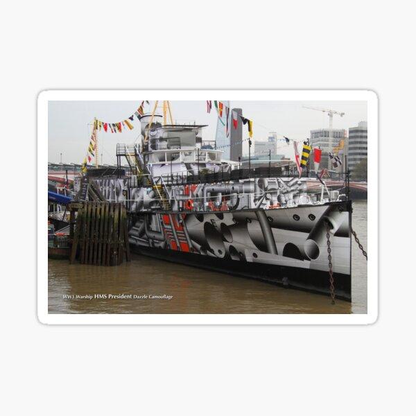 HMS President on the River Thames Sticker