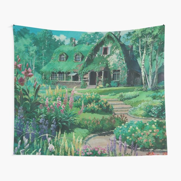 Anime Movie House with flowers Scenery Tapestry