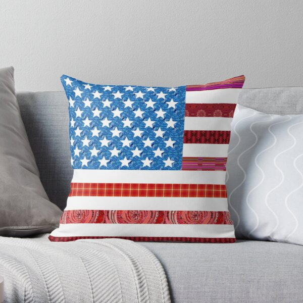 American Patchwork Flag Quilt Throw Pillow