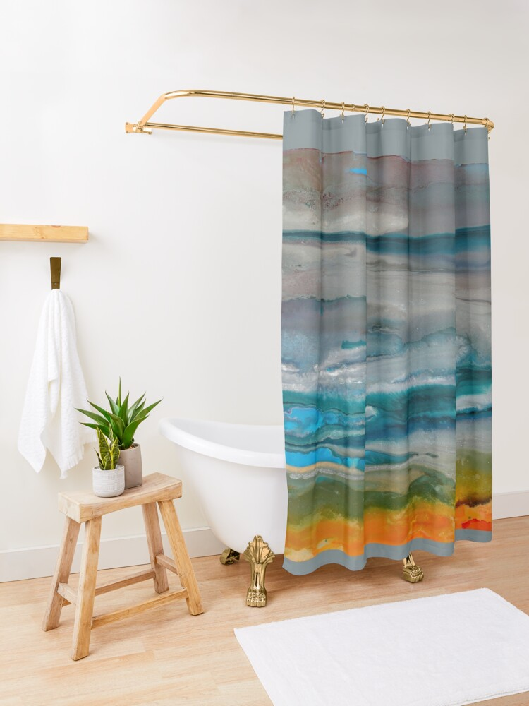 Alternate view of Silver Sky Shower Curtain