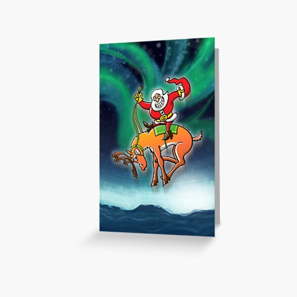 Christmas Rodeo by Santa Claus Greeting Card