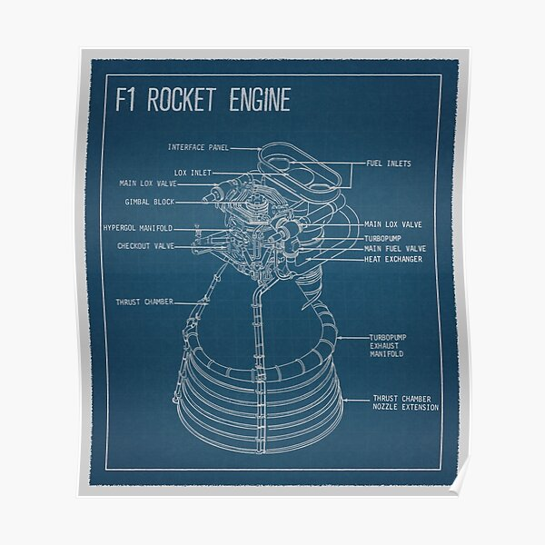 SpaceX F1 Rocket Engine Blueprint Poster