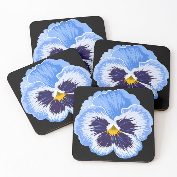 blue pansy flower Coasters (Set of 4)