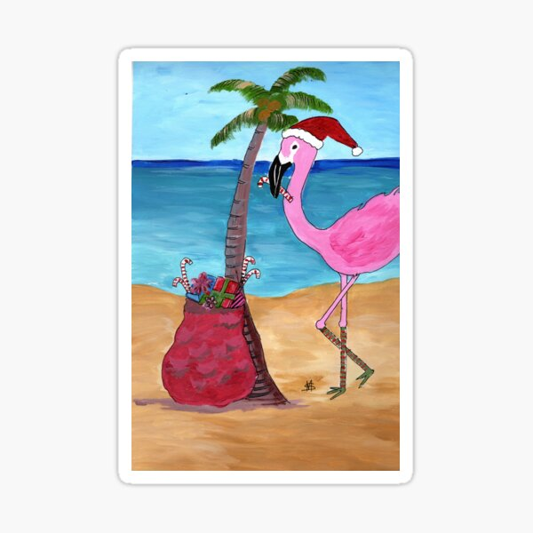 Christmas in paradise flamingo Sticker