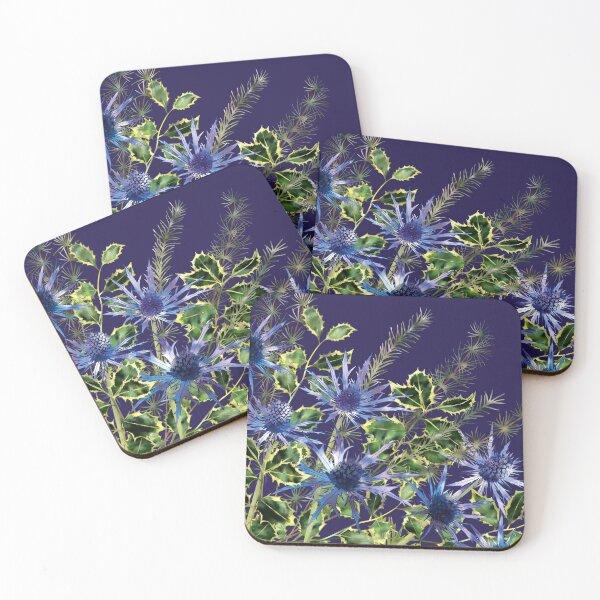 Sea Holly, Holly & Pine Needles Coasters (Set of 4)