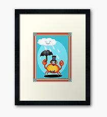 Singing In The Rain Crab Art Poster Print  Framed Print