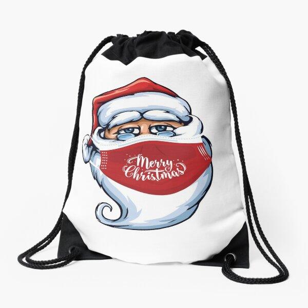 Santa Claus Wearing Merry Christmas Mask Drawstring Bag