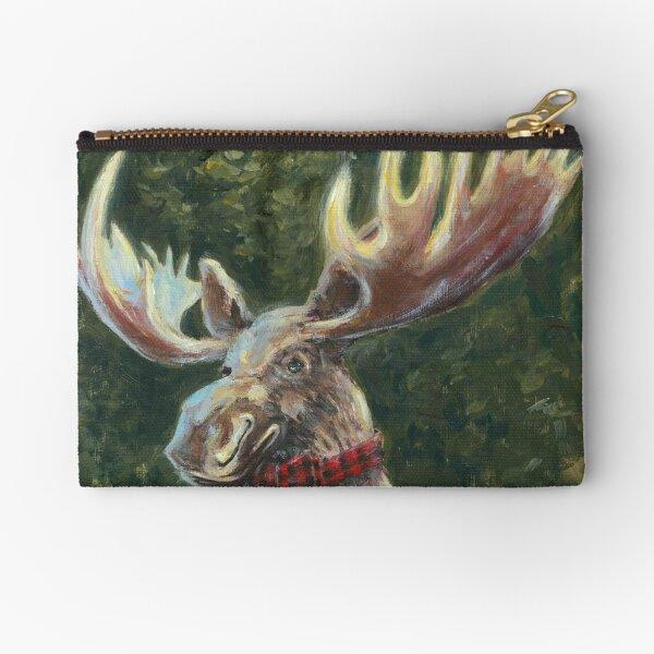 Moose In A Bowtie Zipper Pouch