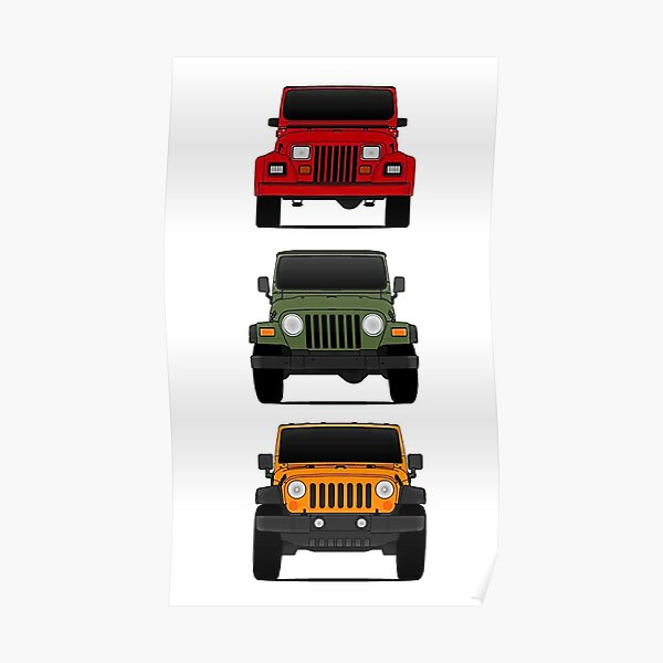 Jeep Wrangler Grille Stylized Art Poster Print Off Road Man Cave Garage