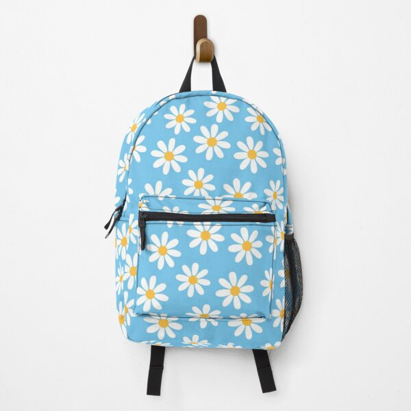 White Daisies on Blue Seamless Pattern Print Backpack