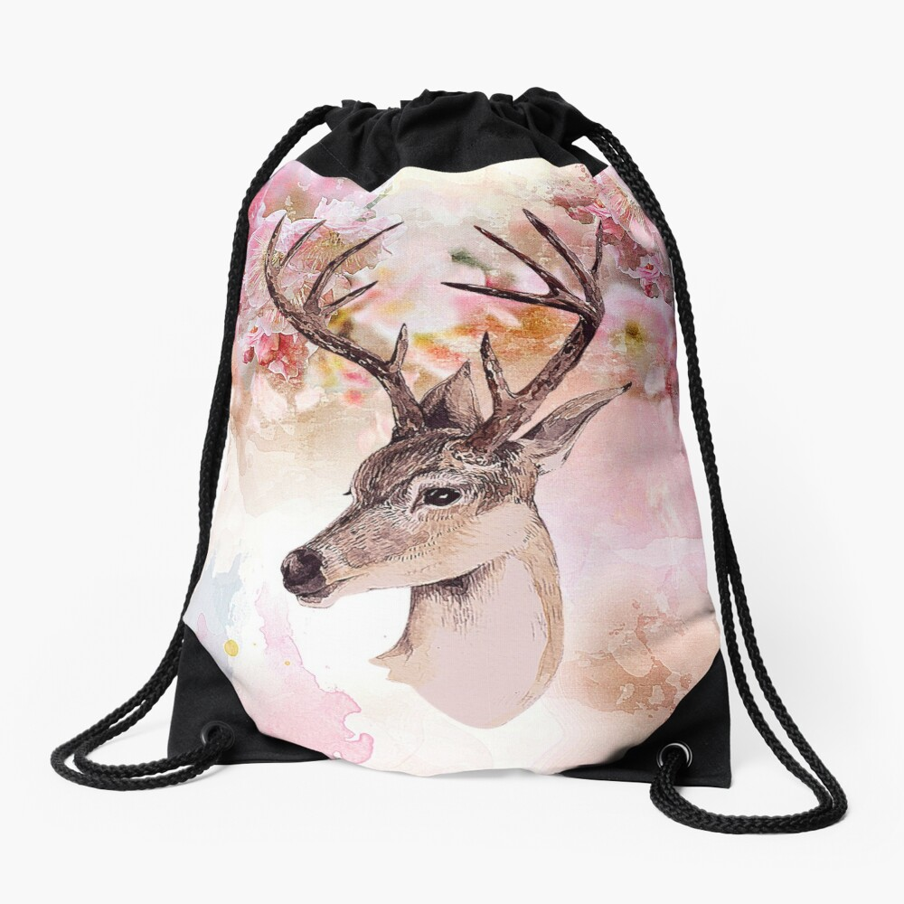 Deer and cherry blossoms Drawstring Bag