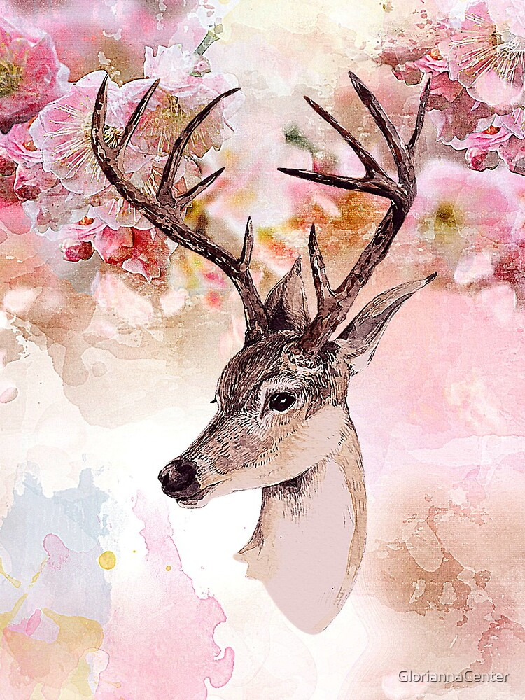 Deer and cherry blossoms by GloriannaCenter