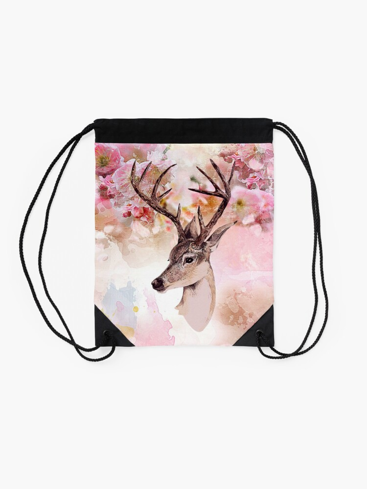 Alternate view of Deer and cherry blossoms Drawstring Bag