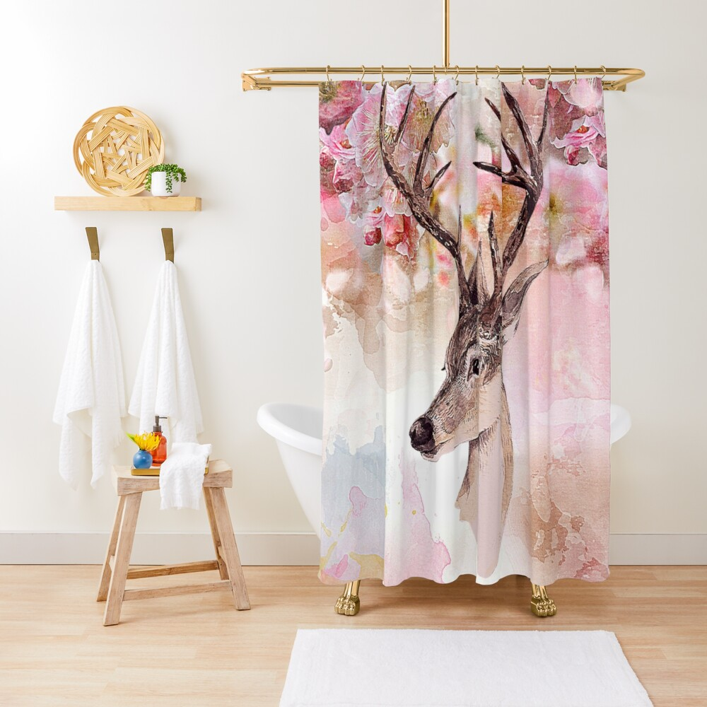 Deer and cherry blossoms Shower Curtain