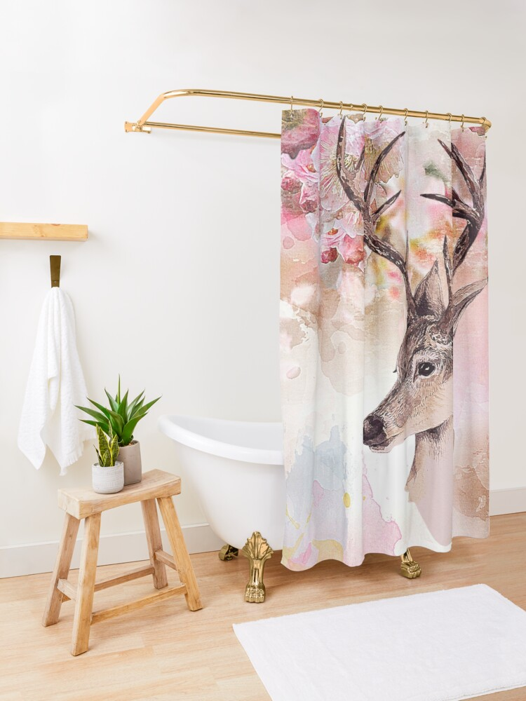 Alternate view of Deer and cherry blossoms Shower Curtain