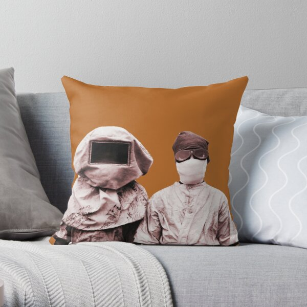 Spanish Flu Pandemic Prevention Gear, 1912, PPE History Throw Pillow