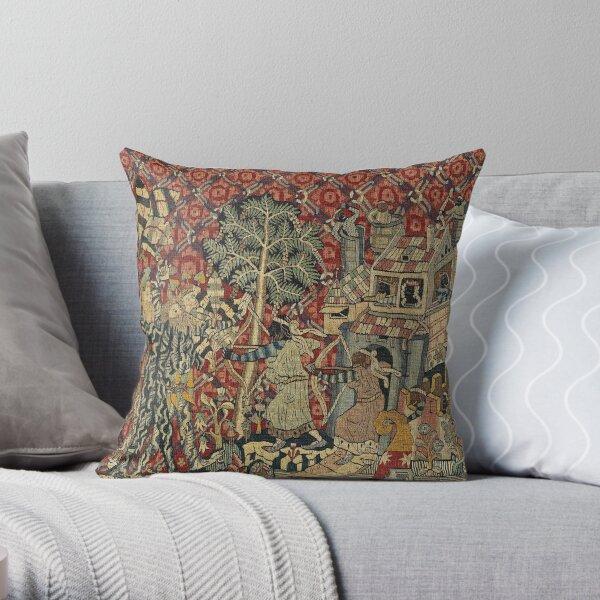 Wild Men Germanic tapestry Throw Pillow