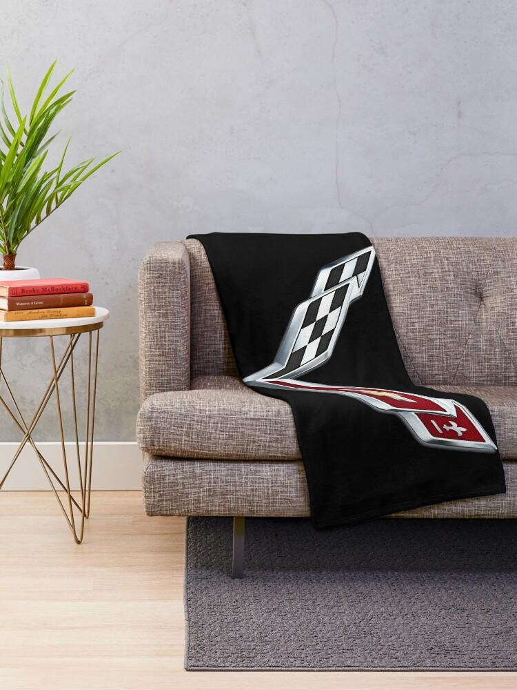 Alternate view of Corvette emblem C7 Throw Blanket