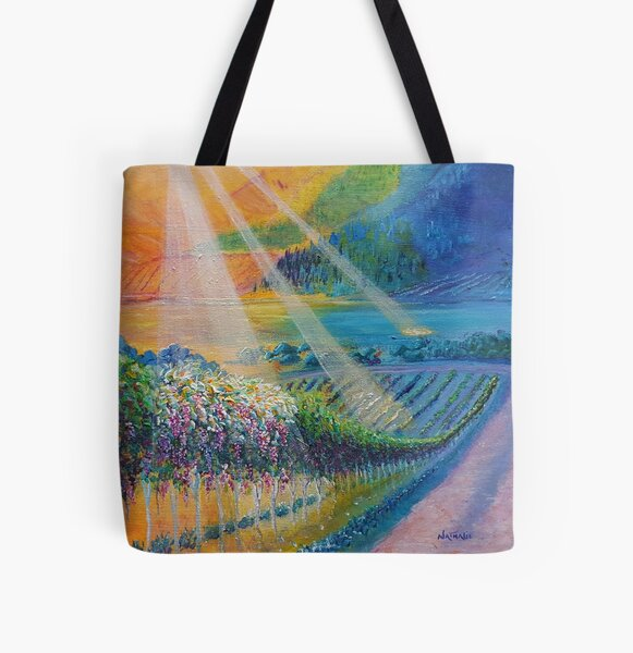 Colourful Sunlight Vineyard Painting All Over Print Tote Bag