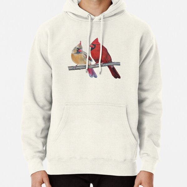Northern Cardinals Pair painting (no background) Pullover Hoodie