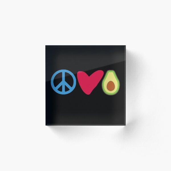 Peace Love Avocado, Avocado Lover Gift Acrylic Block