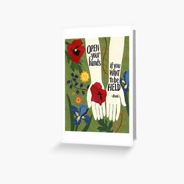 Open Your Hands, Rumi in the Garden Greeting Card