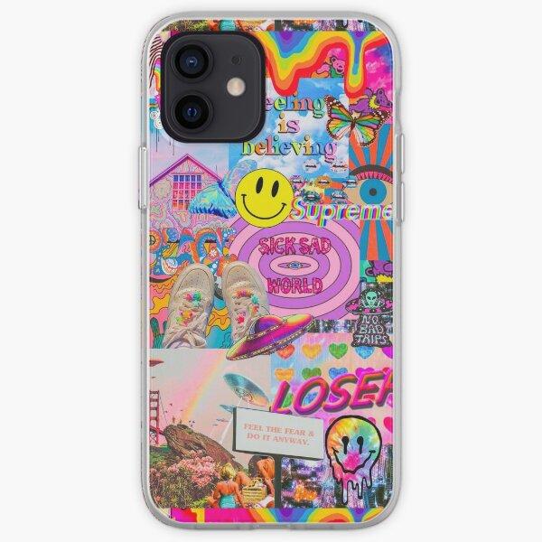 TRIPPY RAINBOW ACID COLLAGE iPhone Soft Case
