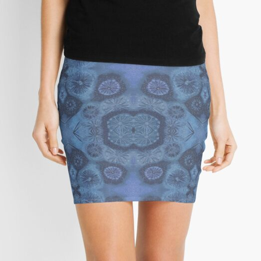 Atmospheric Seed Head Pattern by Nonna, Blue Mini Skirt