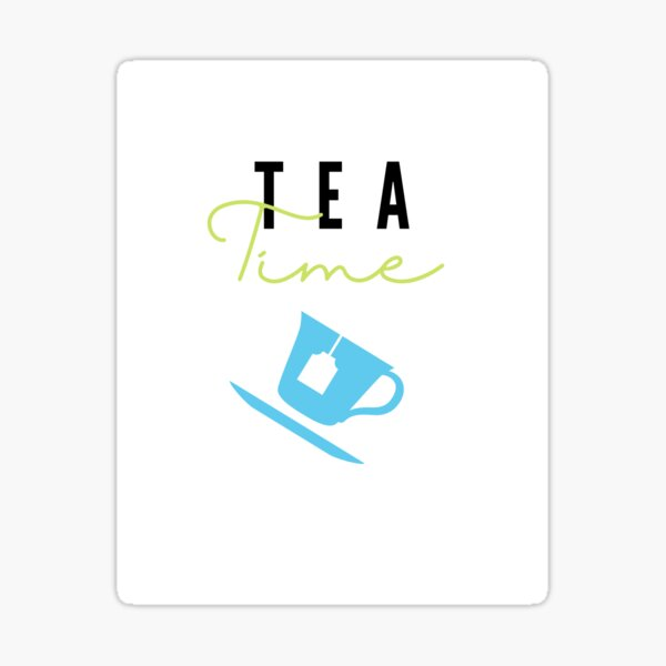 Tea Time 5 Funny Cup and Saucer in Blue Black & Olive Sticker