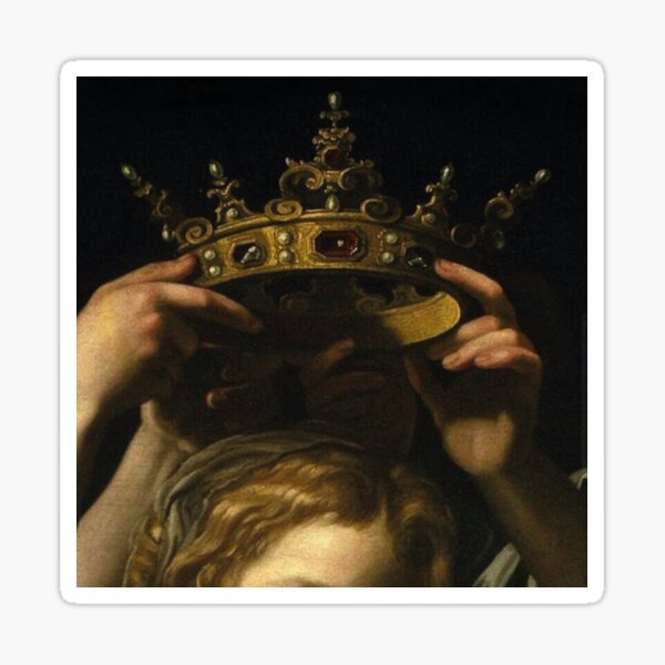 Hands and crown Sticker