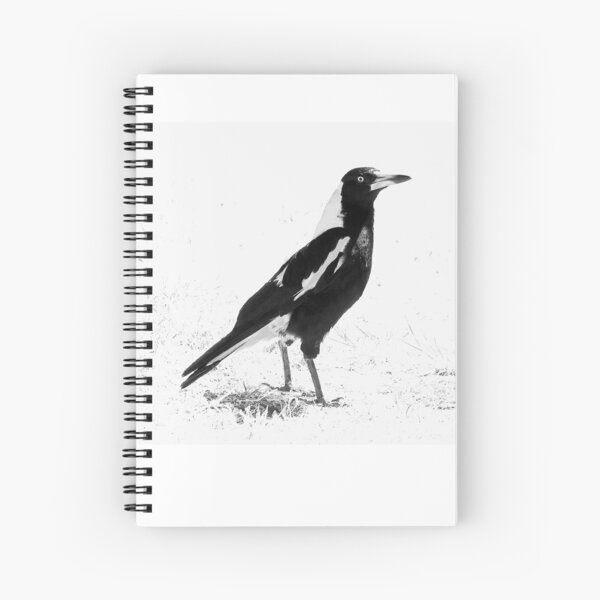 Magpie Bird, Black and White Art, Bird Artwork Spiral Notebook