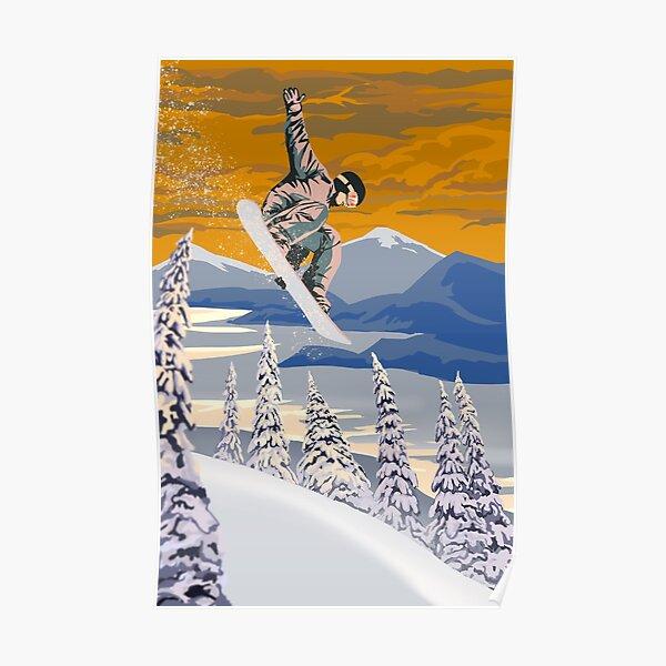 Retro style Snowboard poster art Poster