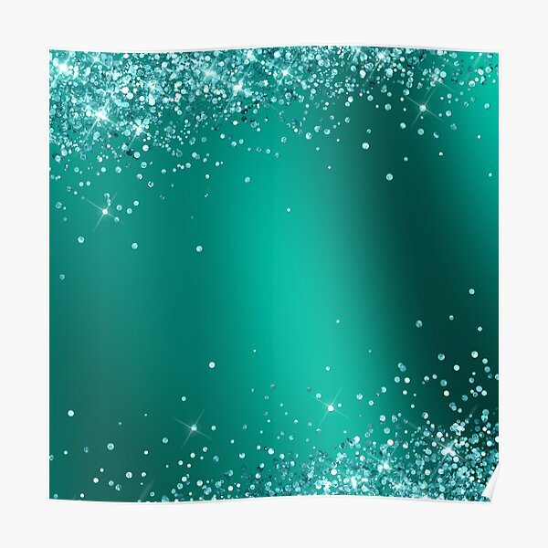 Christmas Lover Elegant Teal Holographic Glitter Effect Printed Texture Poster