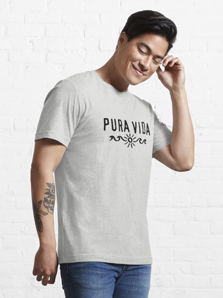 Alternate view of Pura Vida, Good Vibes, Costa Rica, sun, waves, surfing Essential T-Shirt
