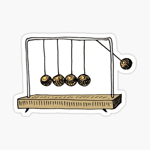 Newton's Cradle physics toy swinging spheres - newtonian pendulum  Sticker