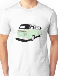 VW Camper Late Bay pale green and white Unisex T-Shirt